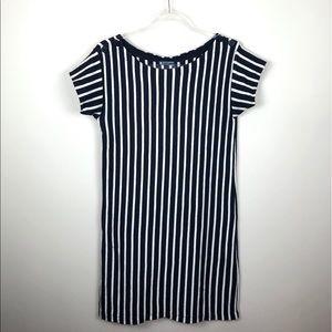Petit Bateau Navy & White Striped Dress M 16 Ans